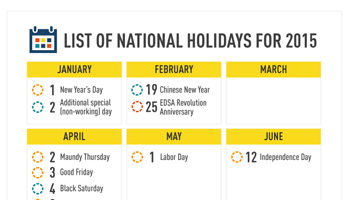 Philippines - List of Nationwide Holidays for 2015