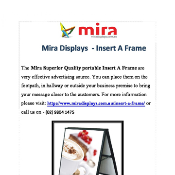 Insert a Frame is Best for your Business Promotion | Mira Displays