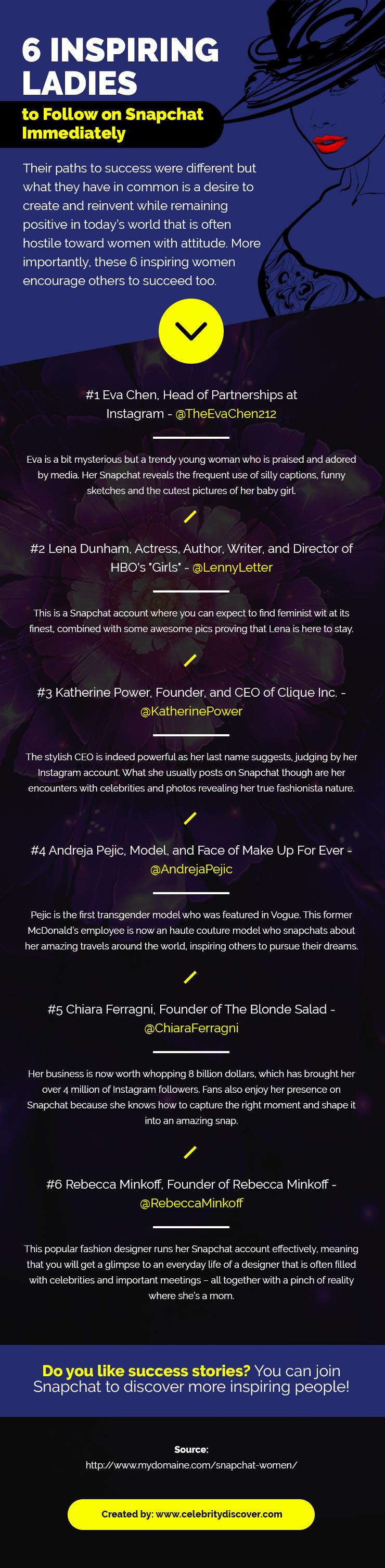 6 Inspiring Ladies to Follow on Snapchat Immediately