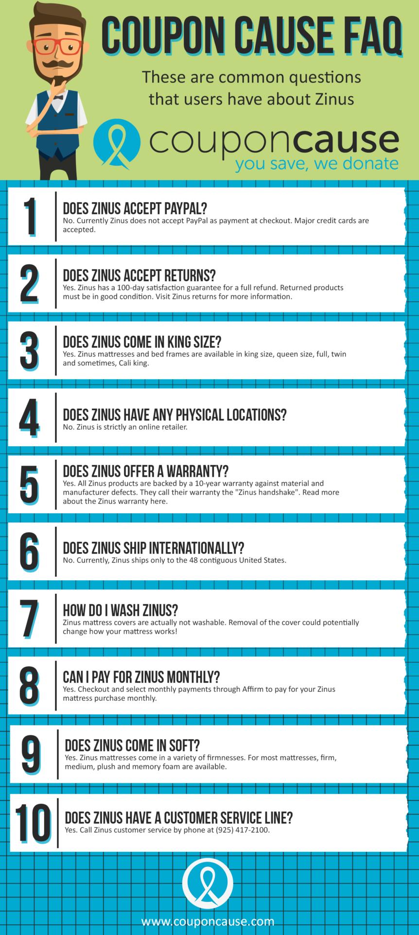 Zinus Coupon Cause FAQ (C.C. FAQ)