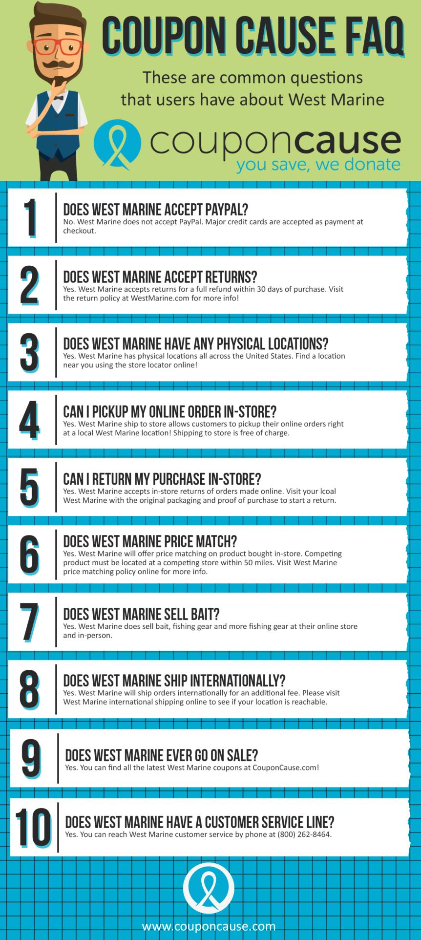 West Marine Coupon Cause FAQ (C.C. FAQ)