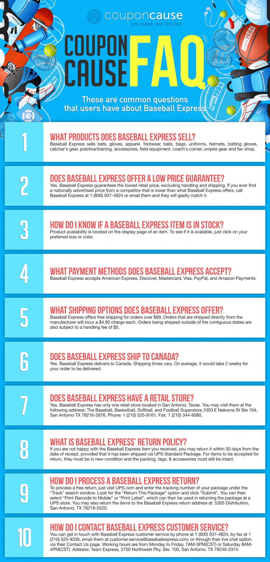 Baseball Express Coupon Cause FAQ (C.C. FAQ)