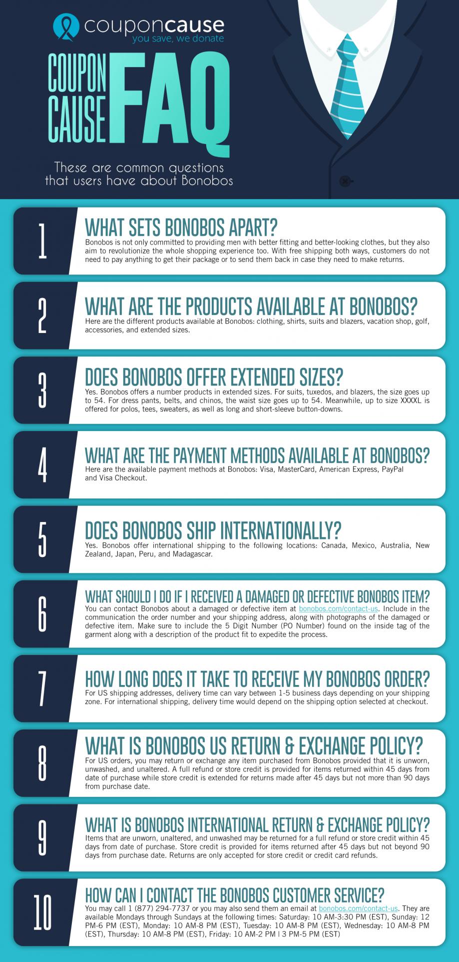 Bonobos Coupon Cause FAQ (C.C. FAQ)