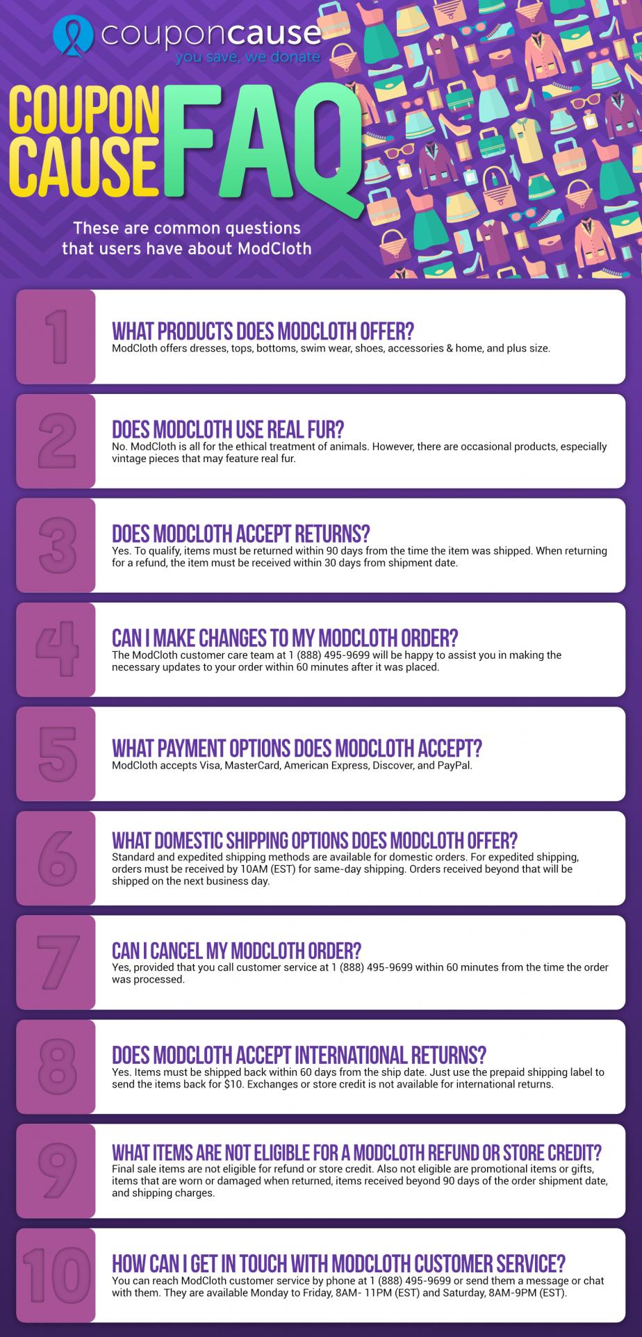ModCloth Infographic Order Coupon Cause FAQ (C.C. FAQ)