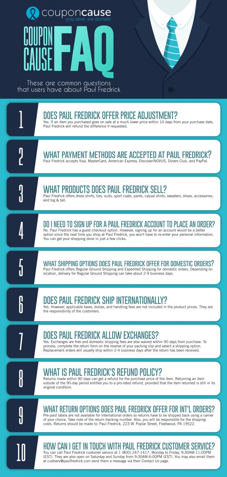 Paul Fredrick Infographic Order Coupon Cause FAQ (C.C. FAQ)