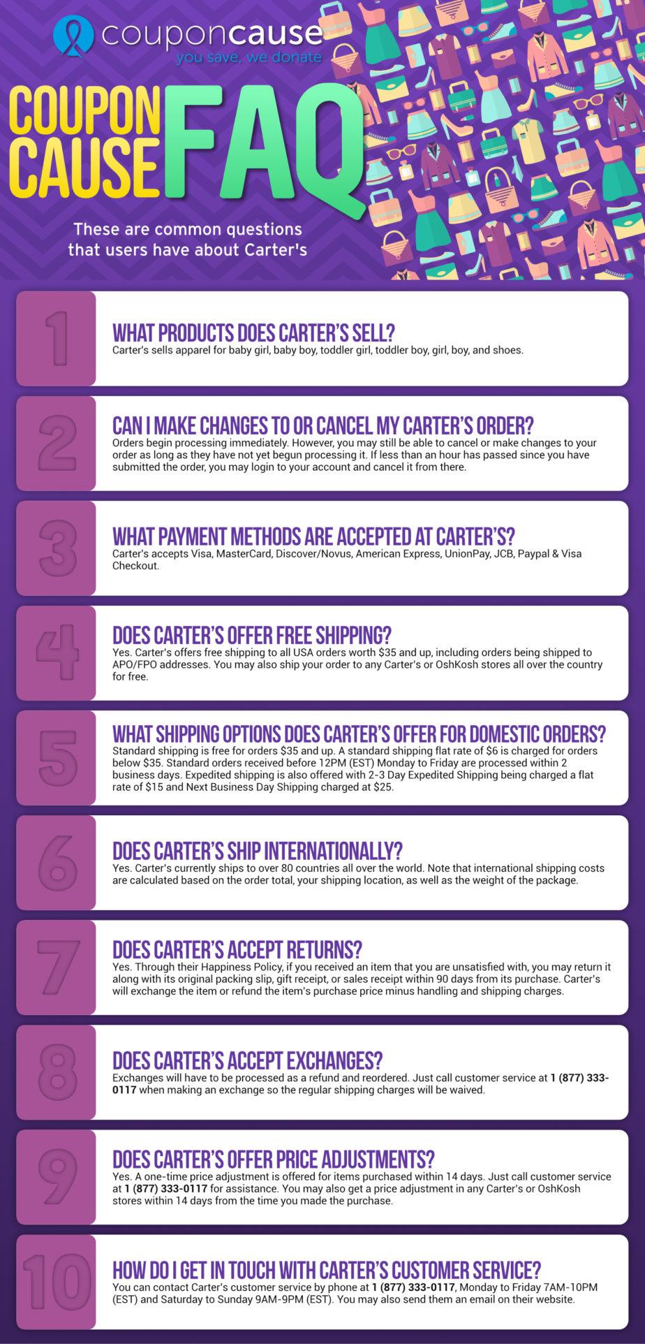 Carter's Infographic Order Coupon Cause FAQ (C.C. FAQ)