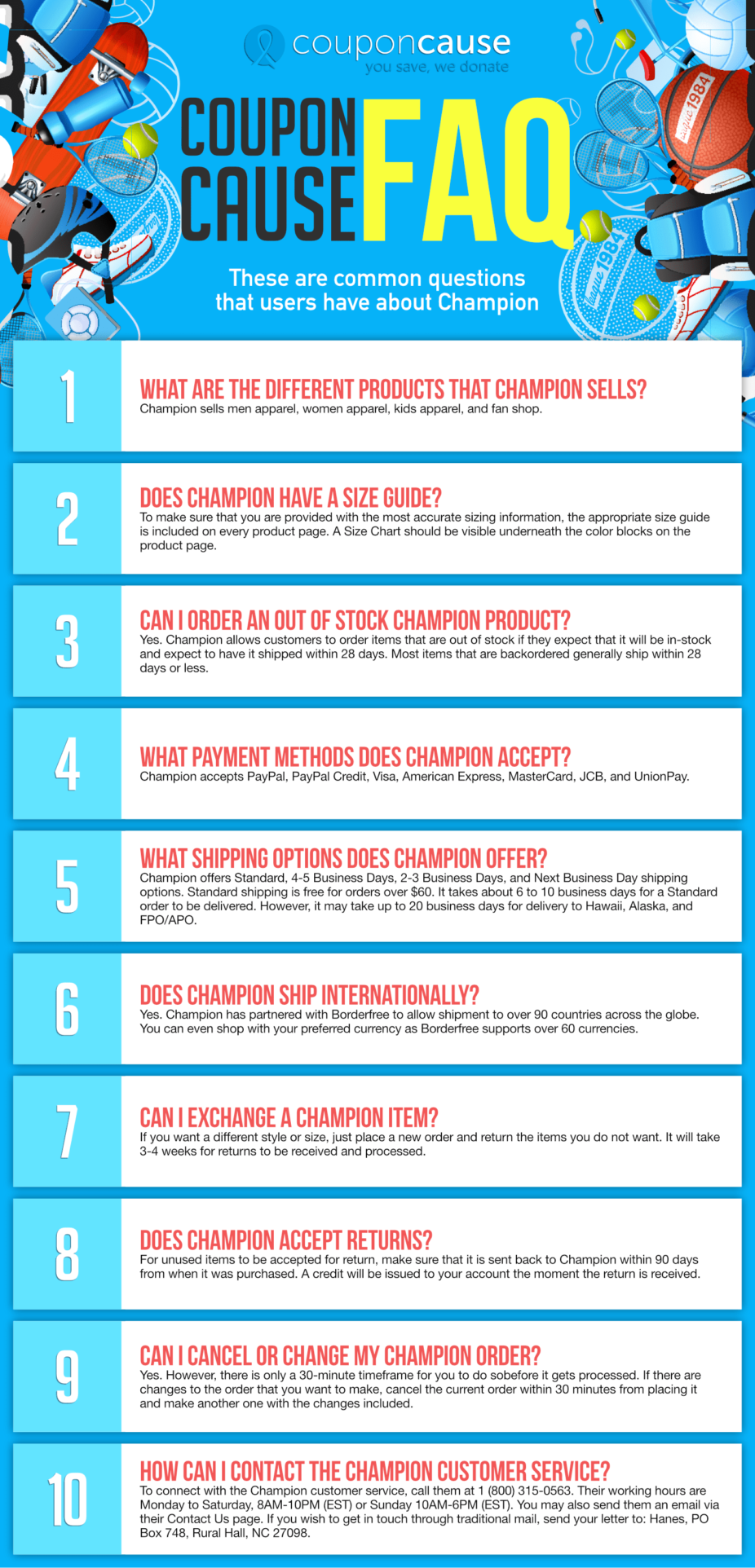 Champion Coupon Cause FAQ (C.C. FAQ)