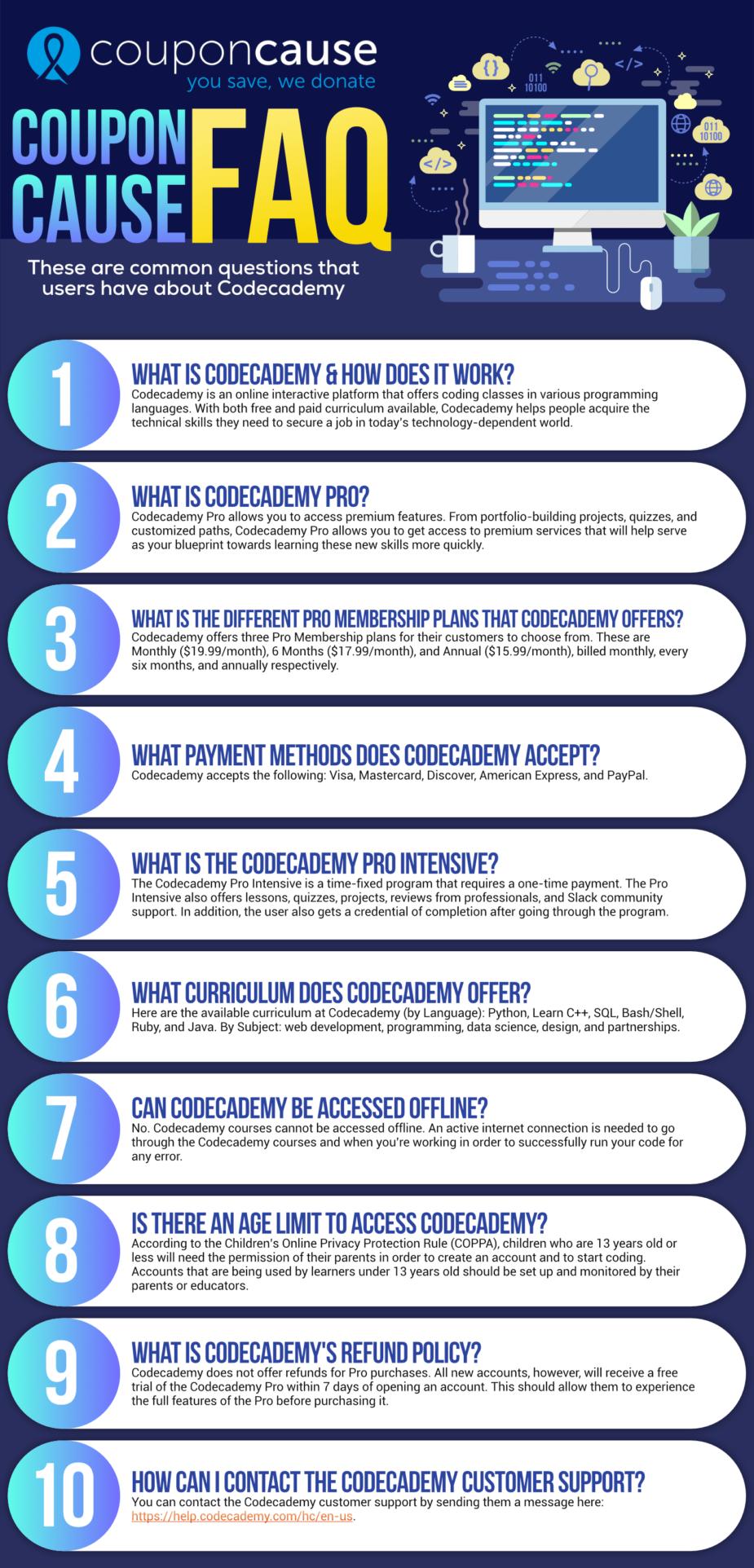 Codecademy Coupon Cause FAQ (C.C. FAQ)