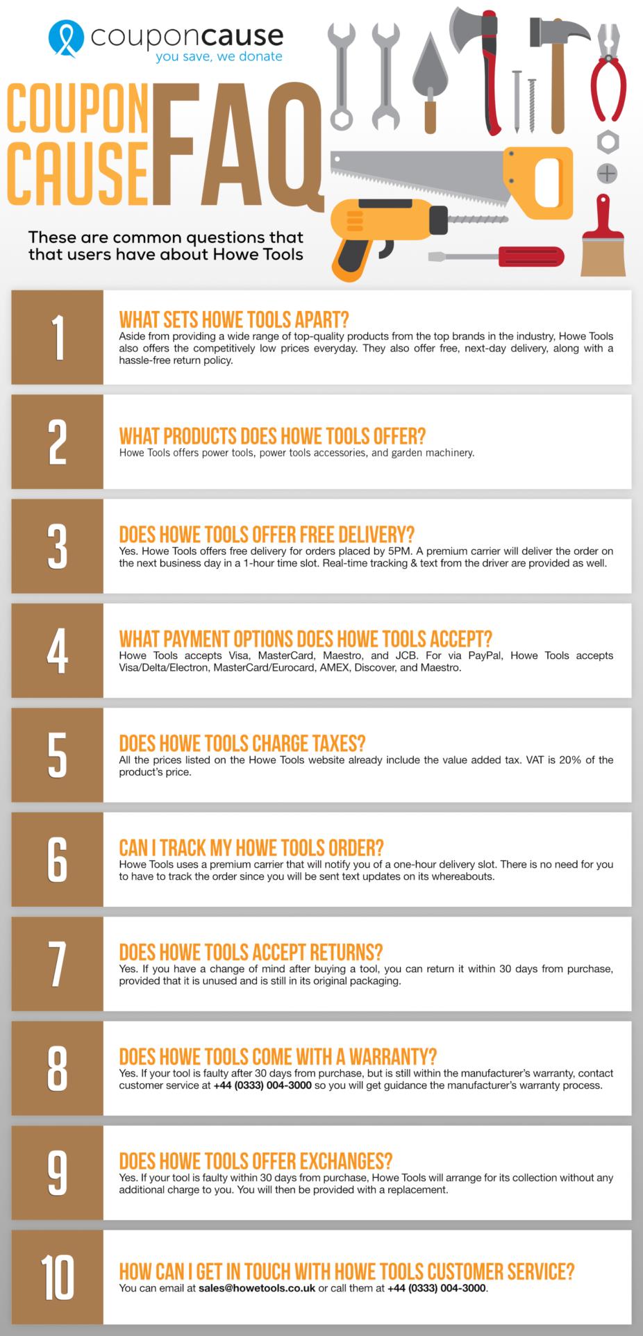 Howe Tools Infographic Order Coupon Cause FAQ (C.C. FAQ)