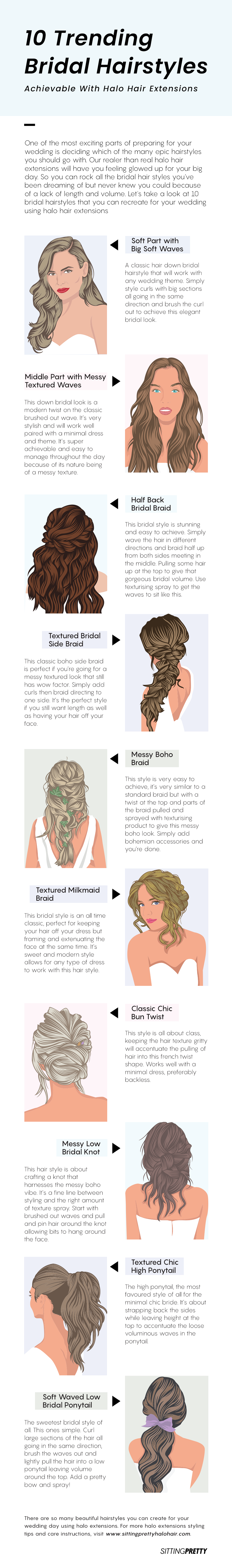 trending bridal hairstyles with halo hair extensions