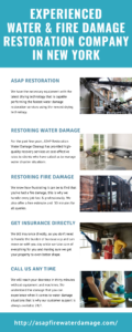 Experienced Water & Fire damage Restoration company in New York