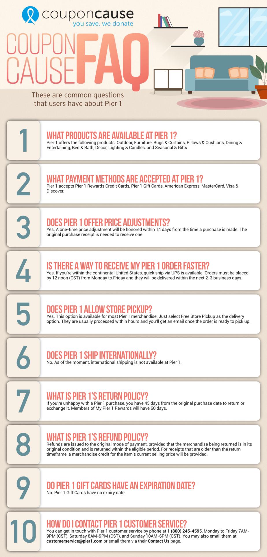 Pier 1 Infographic Order Coupon Cause FAQ (C.C. FAQ)